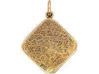 Art Deco 9ct Gold Diamond Shaped Locket with Ivy Leaf Detail