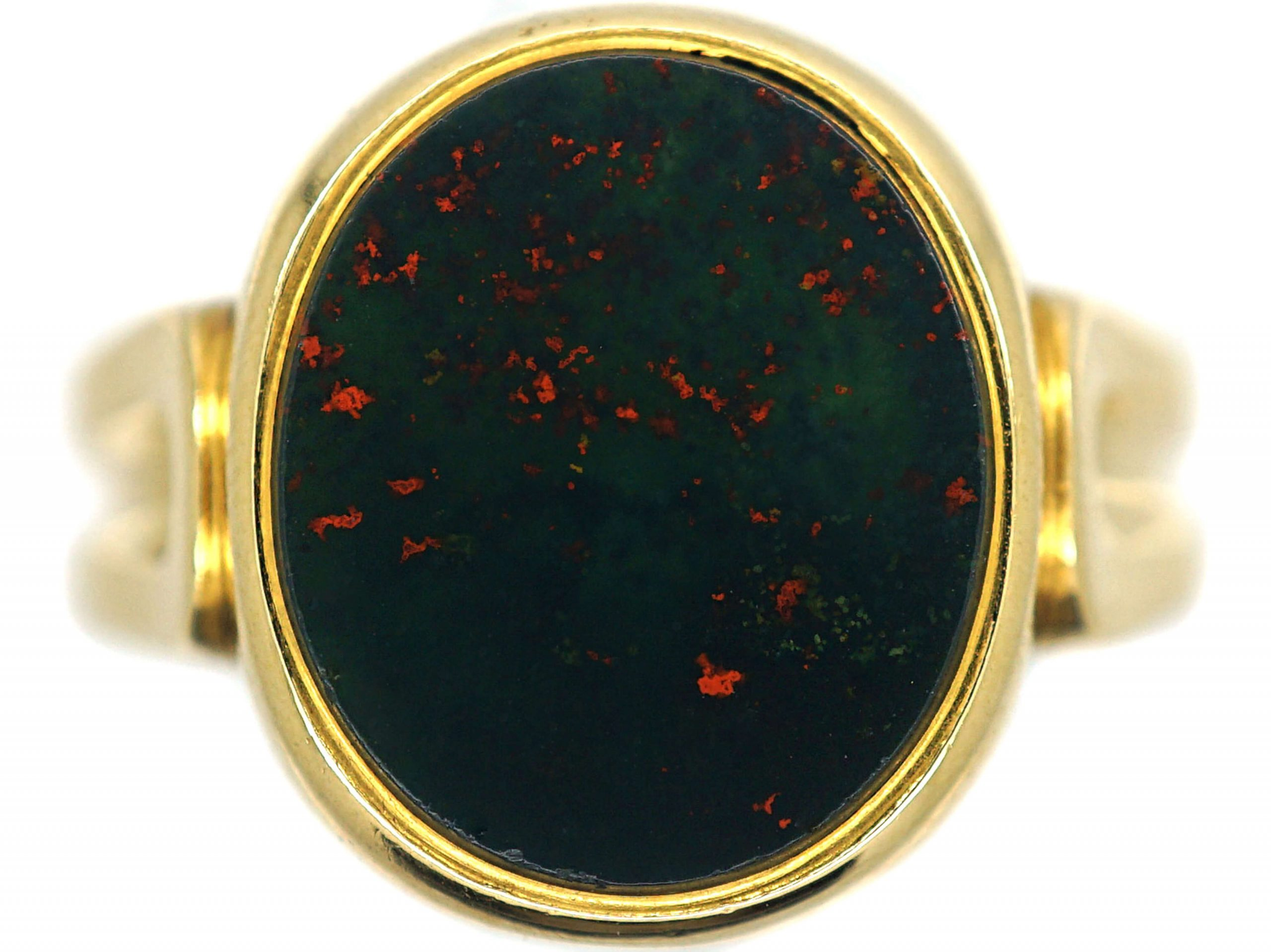 Victorian 18ct Gold & Bloodstone Signet Ring with Fluted Shank by Charles Green