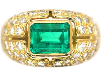 18ct Gold Emerald & Diamond Bombe Ring