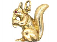 9ct Gold Squirrel Pendant with Ruby Eyes
