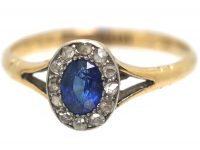 Edwardian 9ct Gold, Sapphire & Diamond Oval Cluster Ring