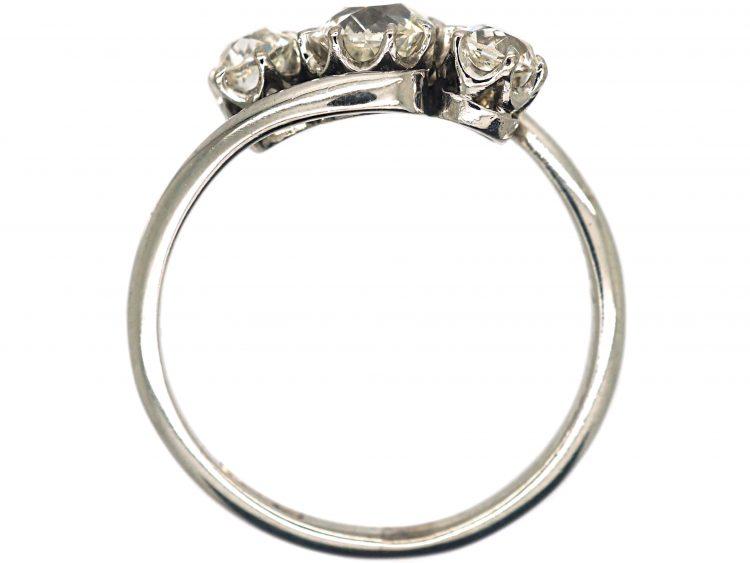 Art Deco 18ct White Gold Three Stone Diamond Crossover Ring