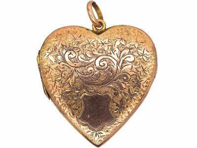 Large Edwardian 9ct Back & Front Heart Shaped Locket
