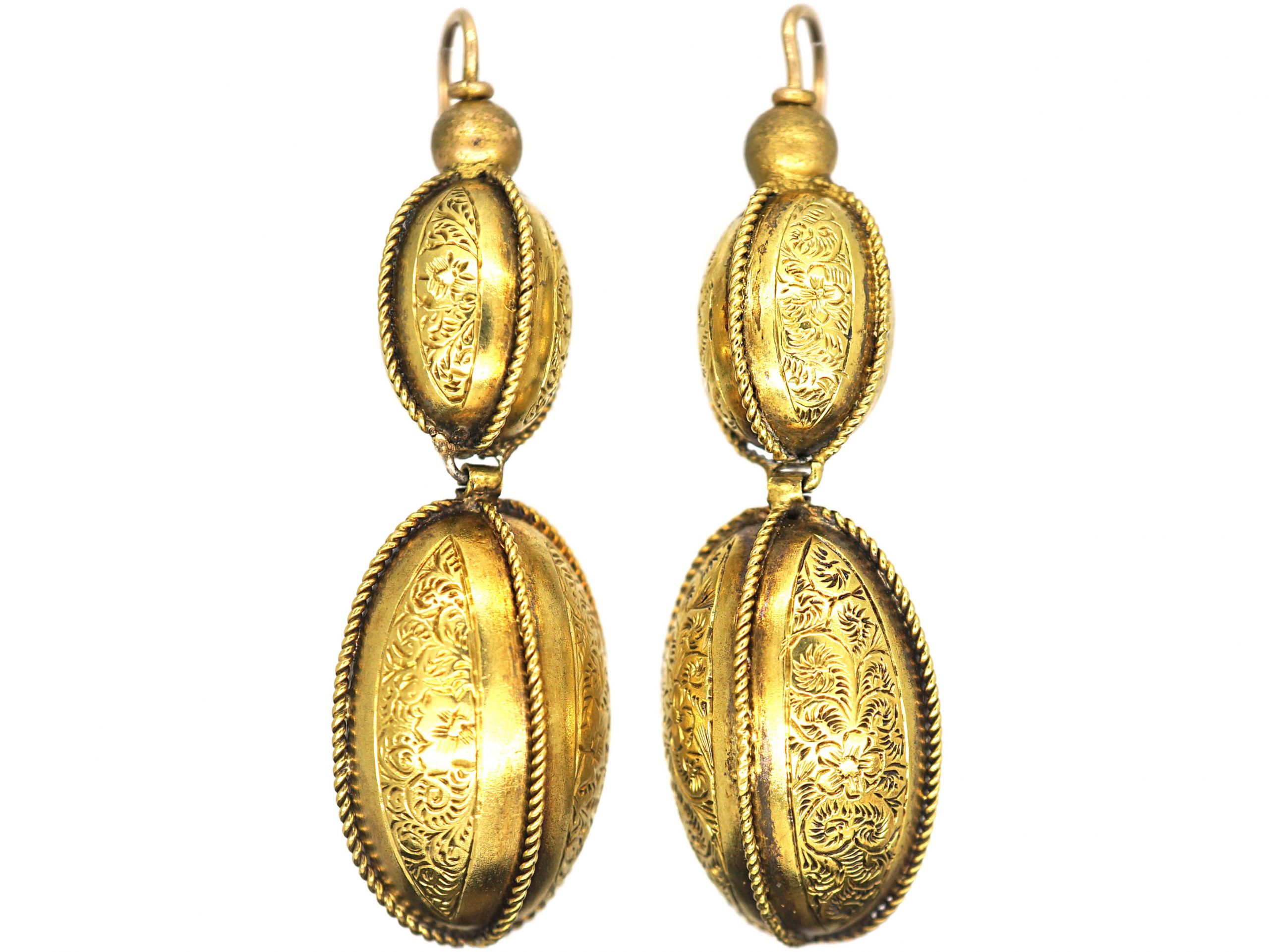 Victorian 15ct Gold Drop Earrings With Gold Rope & Engraved Detail