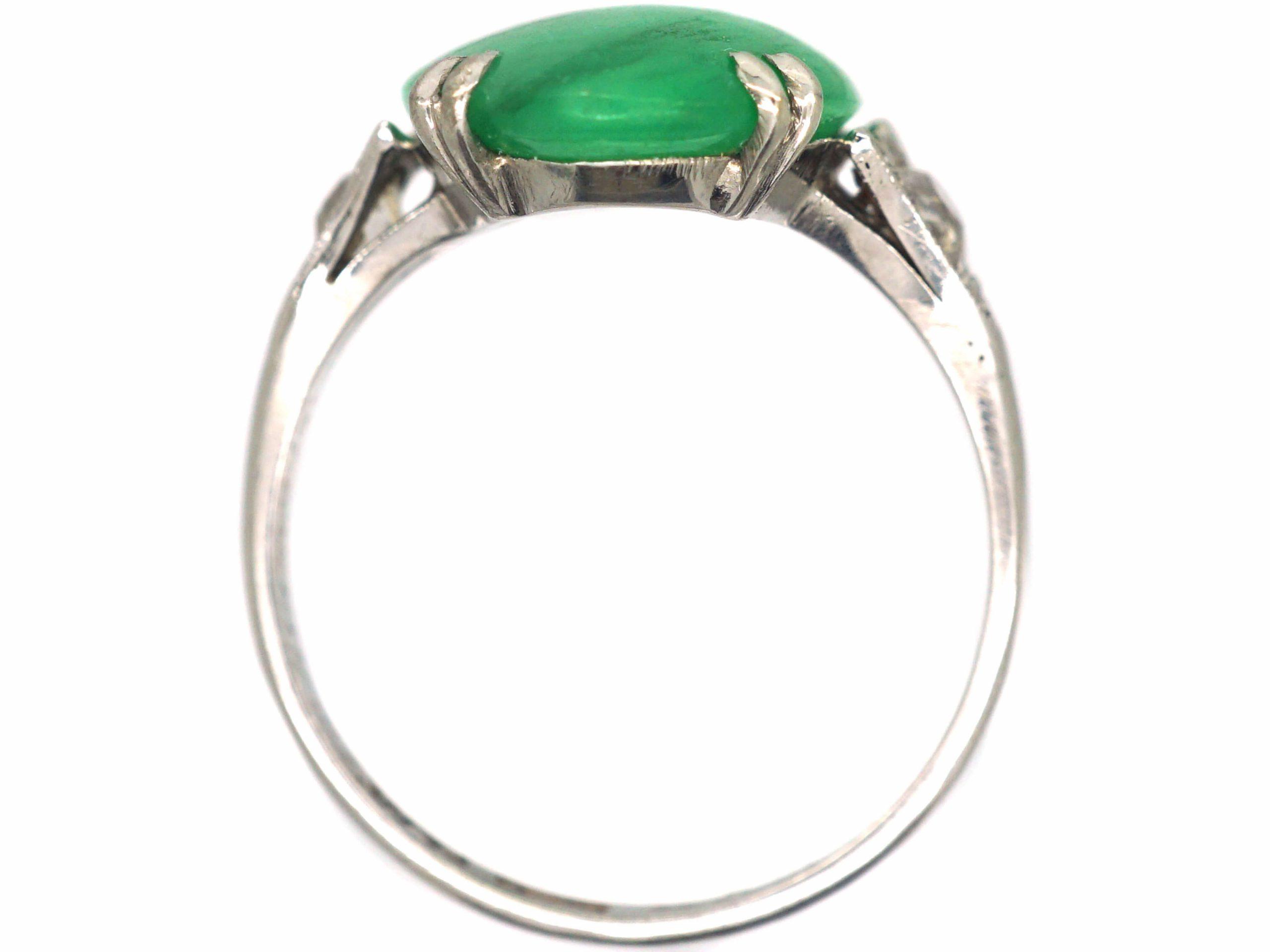 Art Deco 18ct White Gold & Platinum, Jade Ring with Diamond Set Shoulders
