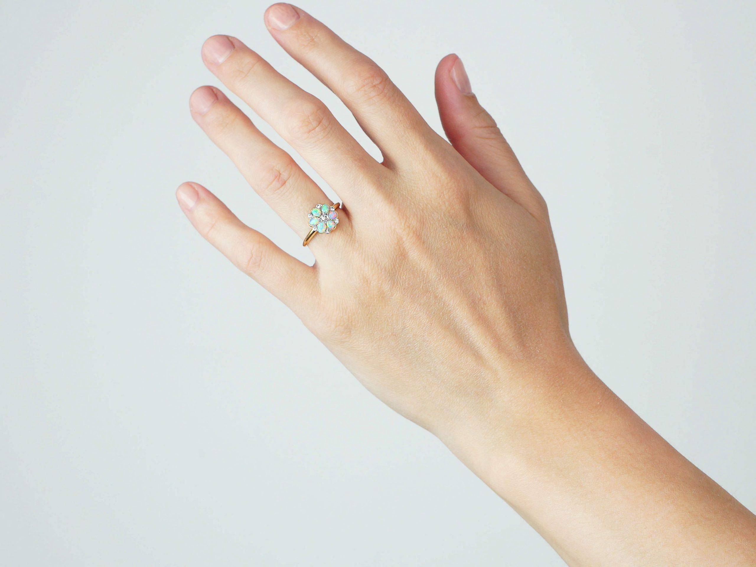 Edwardian 18ct Gold & Platinum, Opal & Diamond Flower Cluster Ring