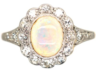 Edwardian 18ct Gold & Platinum, Opal & Diamond Cluster Ring with Diamond Set Shoulders
