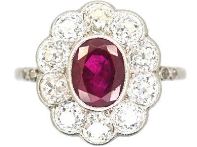 Art Deco 18ct White Gold, Burma Ruby & Diamond Oval Cluster Ring