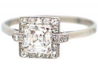Art Deco Platinum Asscher Cut Diamond Ring with Small Diamond Set Detail