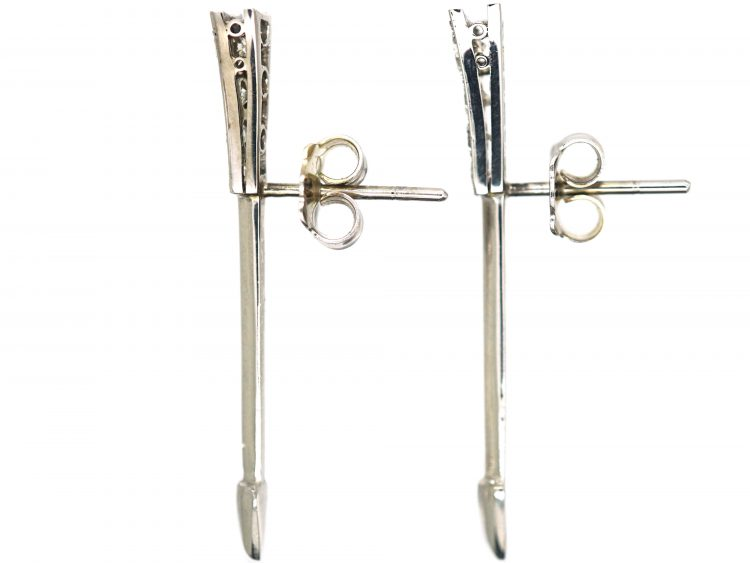Art Deco 18ct White Gold & Platinum, Diamond Arrow Earrings