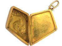 Art Nouveau Kite Shaped 18ct Gold Locket of a Lady