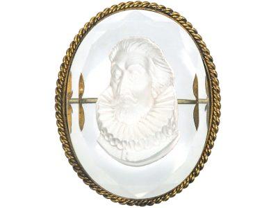 Victorian Gilt & Glass Intaglio Brooch of Shakespeare