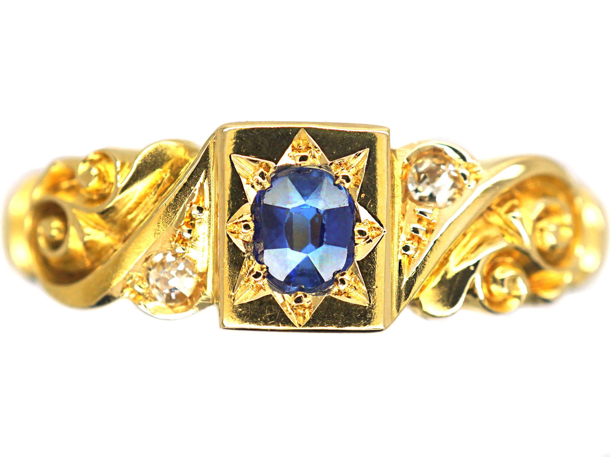 Edwardian 18ct Gold, Sapphire & Diamond Gypsy Ring with Scroll Design Shoulders