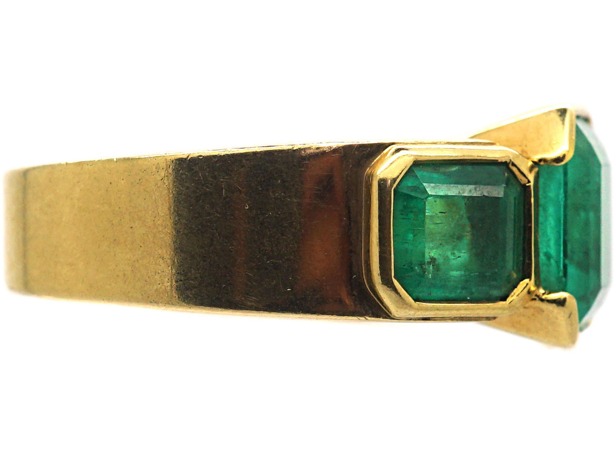 French 18ct Gold Large Three Stone Emerald Ring