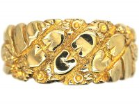 Edwardian 9ct Gold Keeper Ring with Hearts Motif
