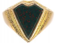 Victorian 15ct Gold Signet Ring with Kite Shaped Bloodstone