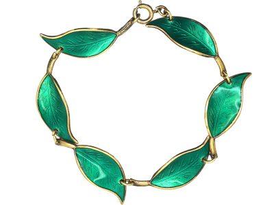 Silver Green Enamel Leaf Design Bracelet by David Andersen