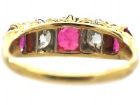 Victorian 18ct Gold, Five Stone Ruby & Diamond Carved Half Hoop Ring