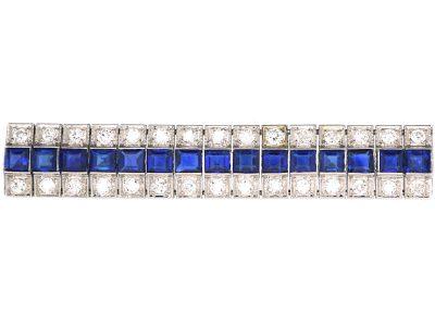 Art Deco Platinum, Sapphire and Diamond Triple Line Cocktail Bracelet