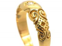 Edwardian 18ct Gold & Diamond Gypsy Scroll Design Ring