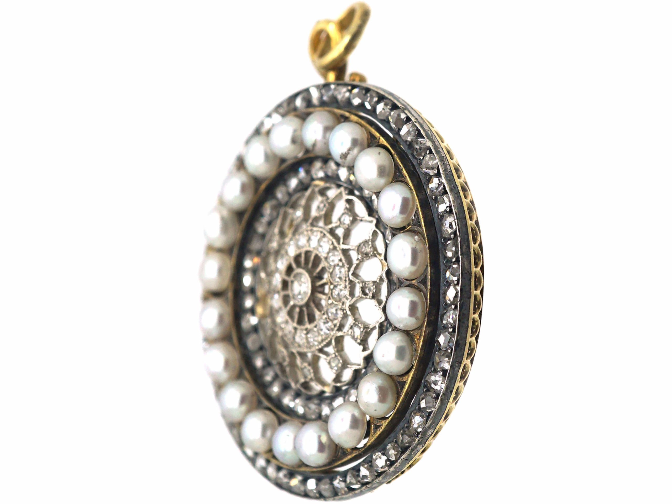Edwardian Gold & Silver, Rose Diamond & Pearls Round Pendant