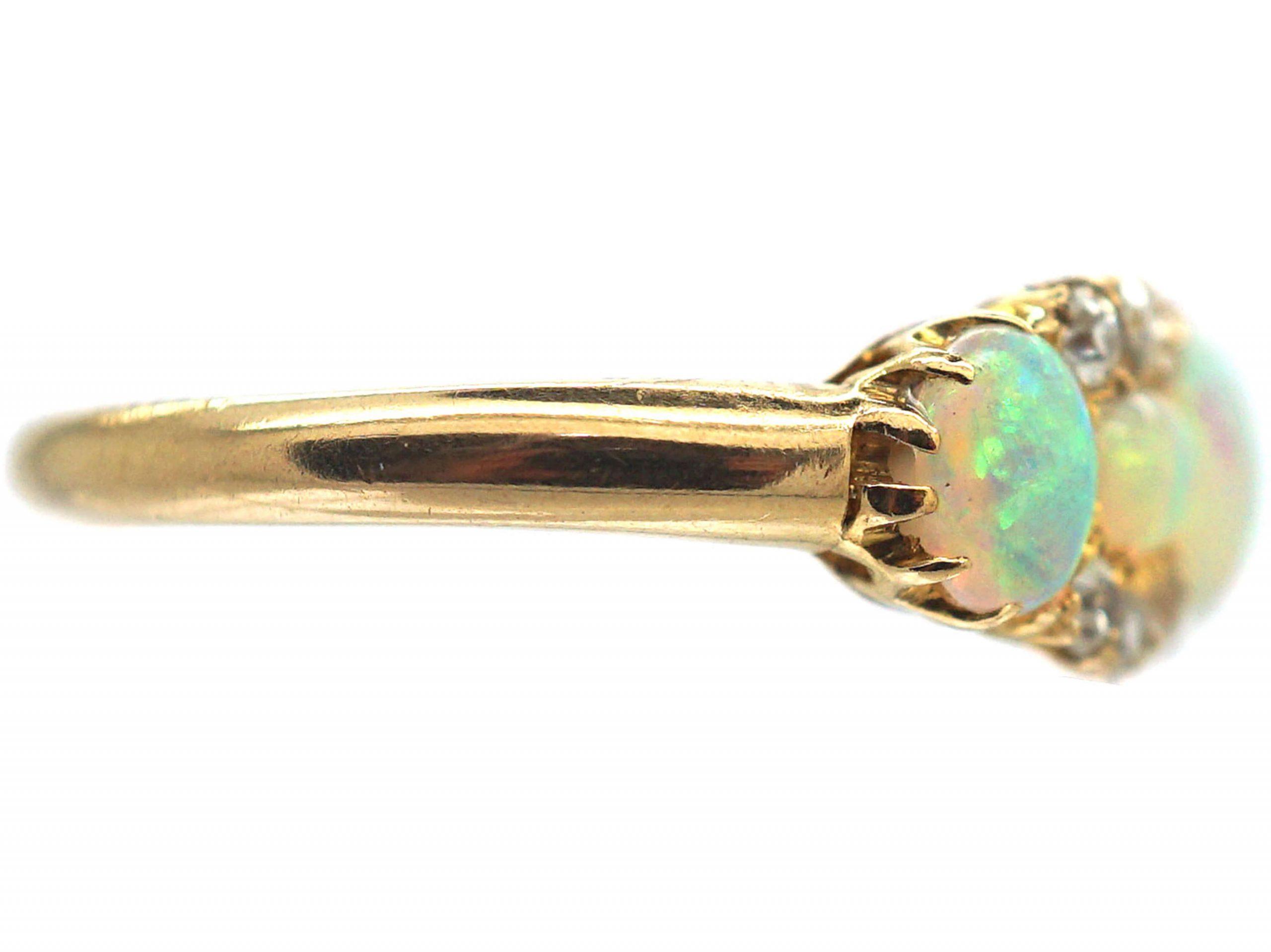 Edwardian 18ct Gold, Five Stone Opal & Diamond Ring