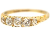 Victorian 18ct Gold & Five Stone Diamond Carved Half Hoop Ring