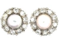 Large 18ct White Gold, Diamond & Pearl Cluster Earrings