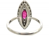 Edwardian 18ct White Gold & Platinum, Diamond & Pink Sapphire Marquise Shaped Ring