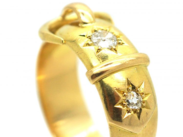 Victorian 18ct Gold Buckle Ring Set With Diamonds