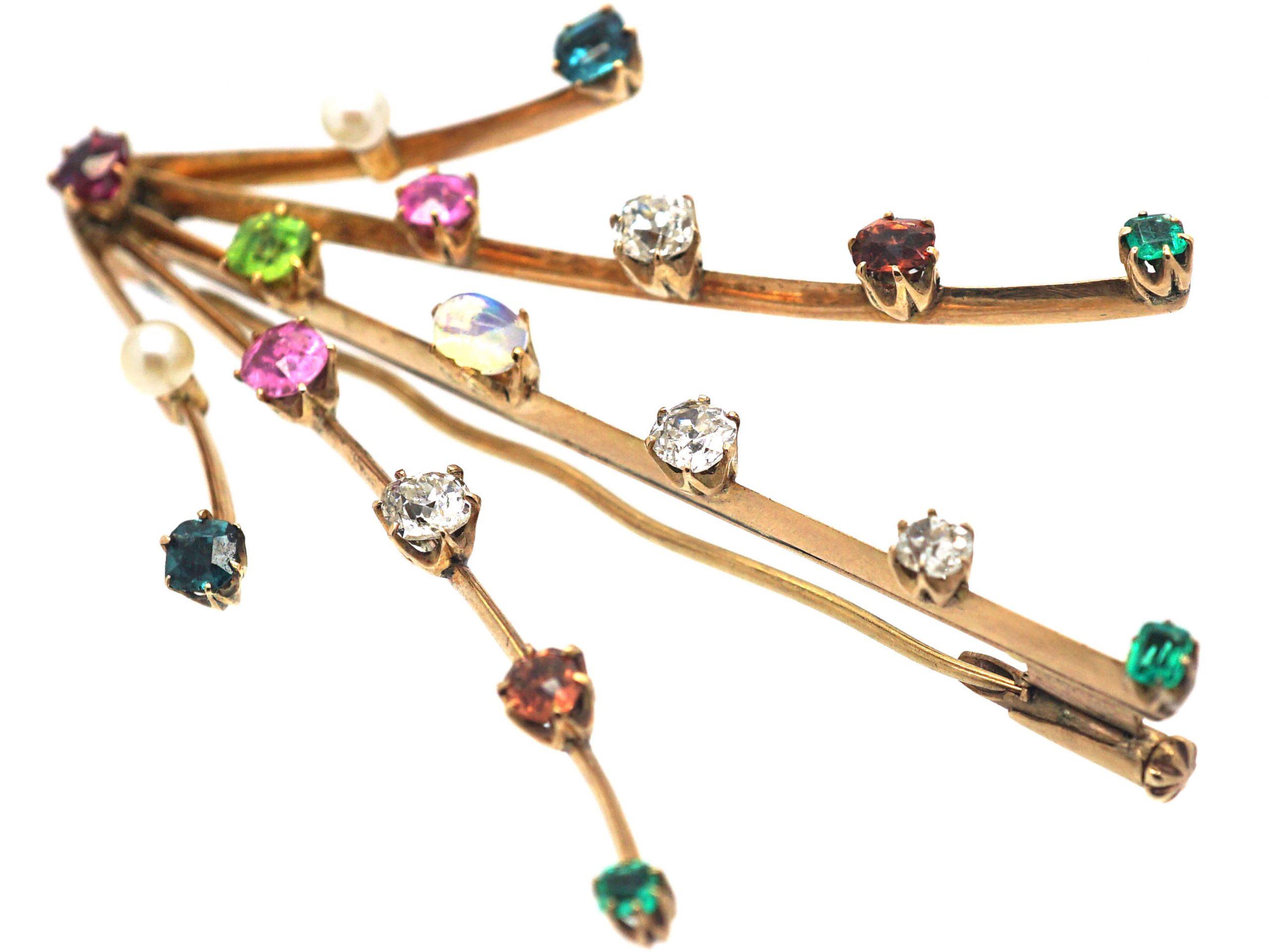 Edwardian 15ct Gold Harlequin Comet Brooch set with Different Gemstones