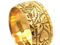 Edwardian 18ct Gold Wide Wedding Ring with Ivy Leaf & Heart Motifs