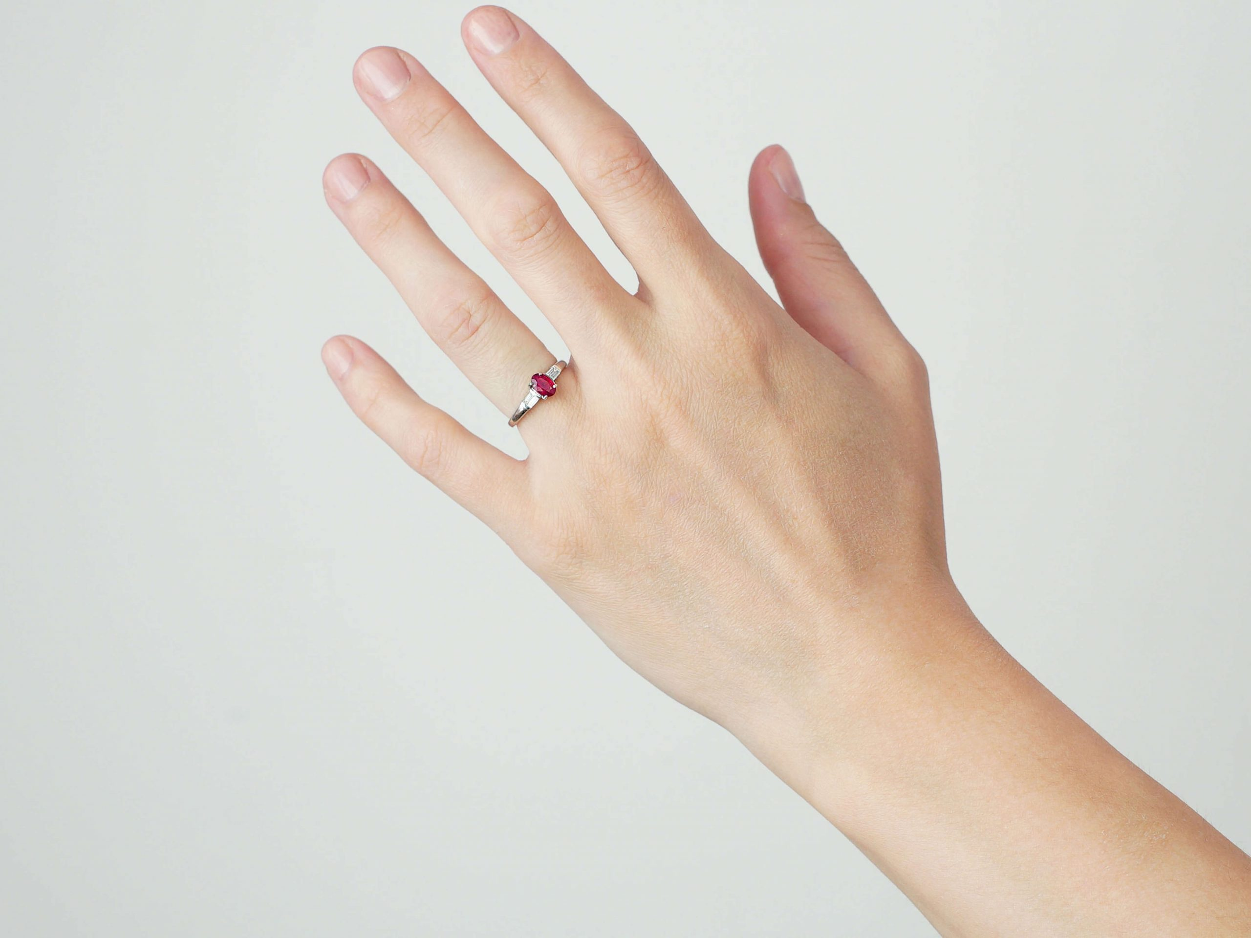 9ct White Gold, Ruby & Diamond Baguette Ring