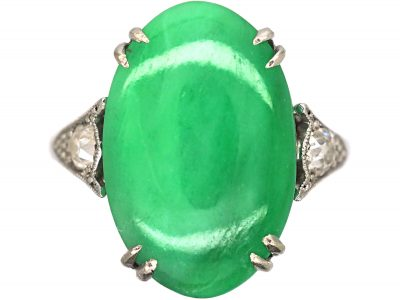 Art Deco 18ct White Gold & Platinum, Jade Ring with Diamond Set Shoulders