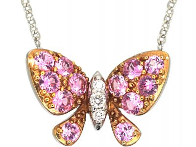 14ct White Gold, Pink Sapphire & Diamond Butterfly Pendant on 14ct White Gold Chain