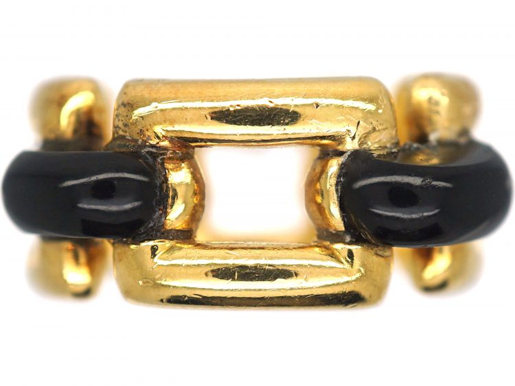 French 18ct Gold & Onyx Ring by Mauboussin