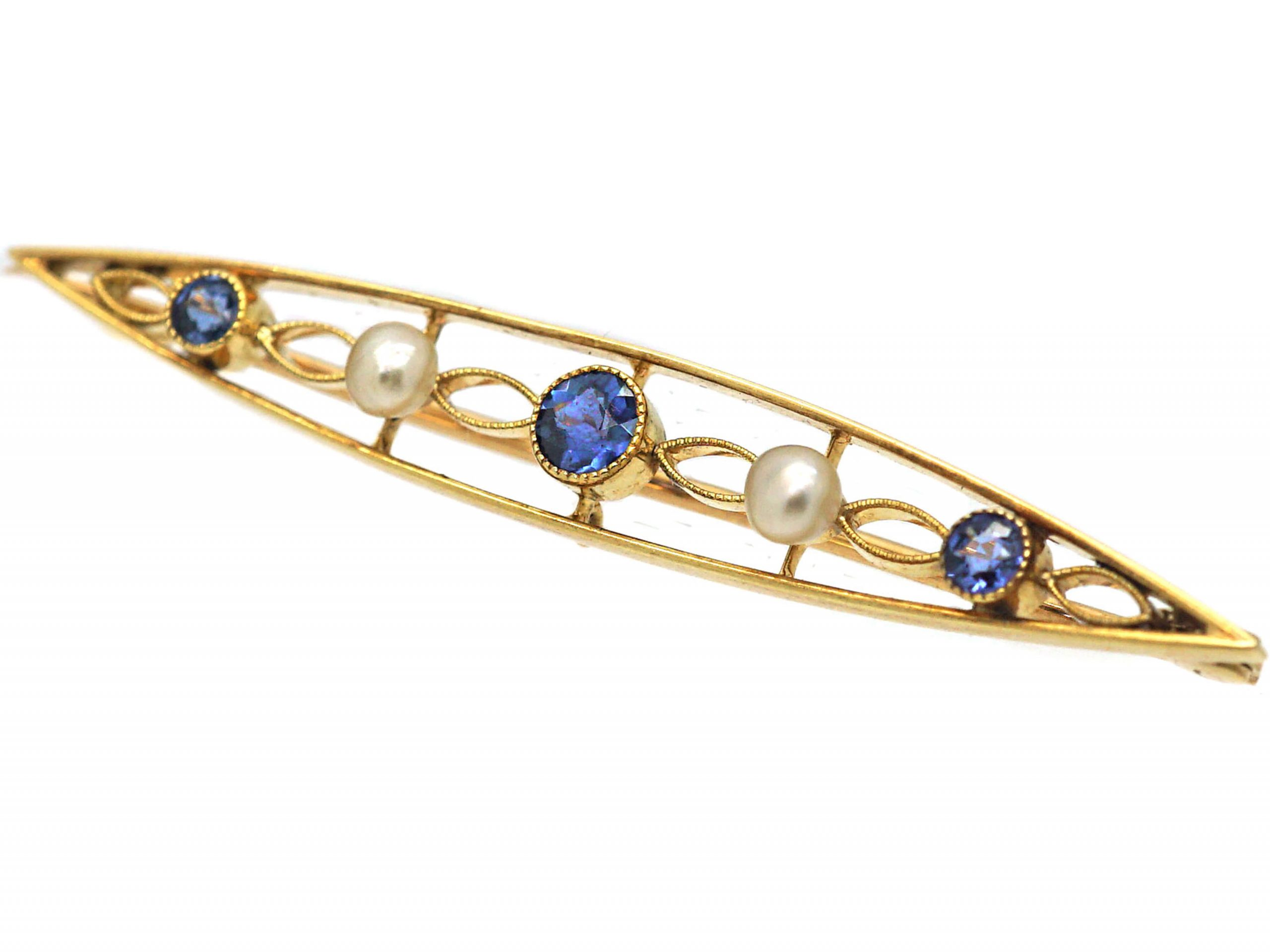 Edwardian 15ct Gold Brooch set with Sapphires & Natural Pearls