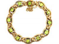 Edwardian 15ct Gold Bracelet set with Peridots