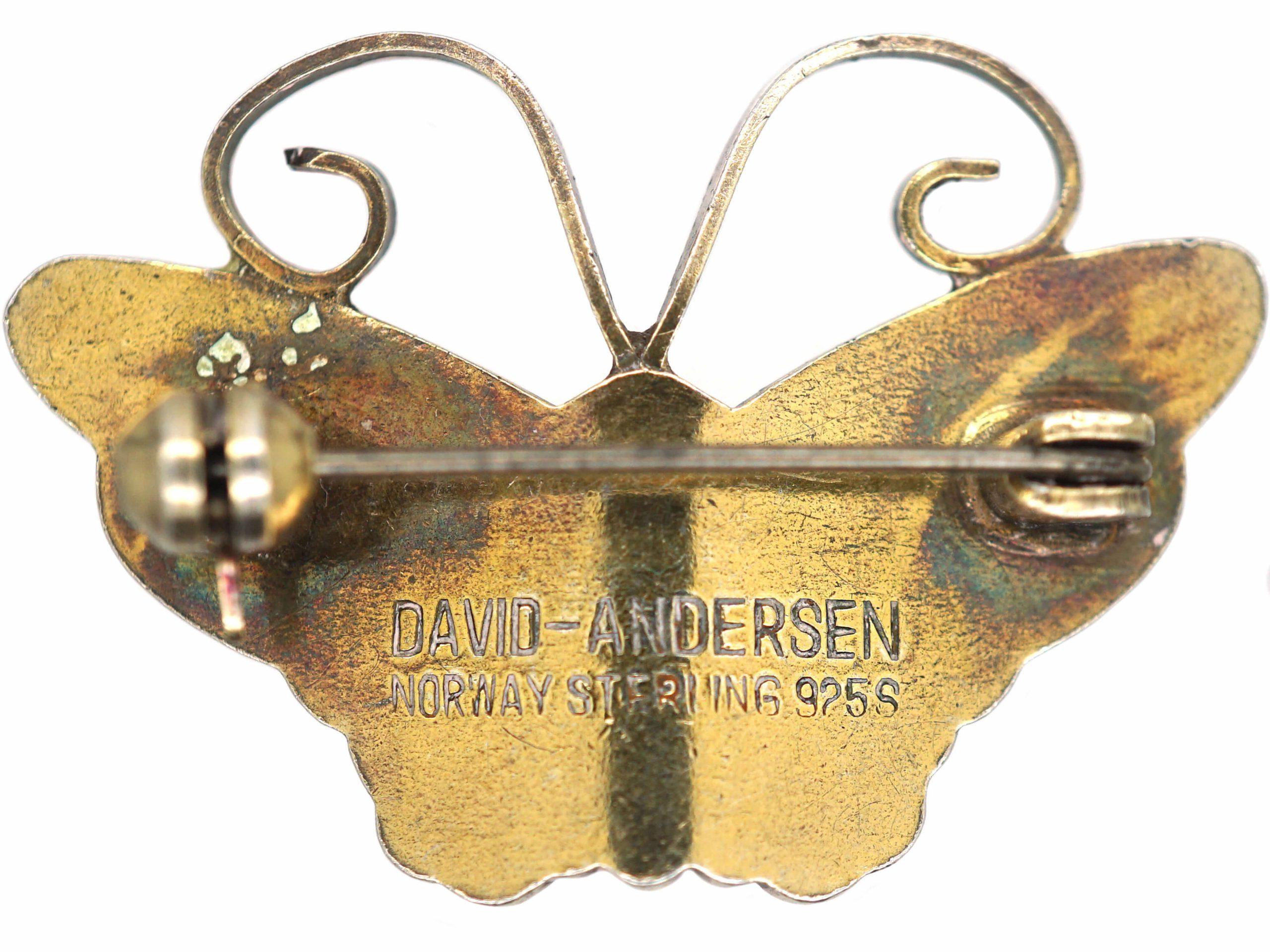 Silver & Yellow Enamel Butterfly by David Andersen