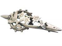 Victorian Silver Swallow & Ivy Leaf Brooch