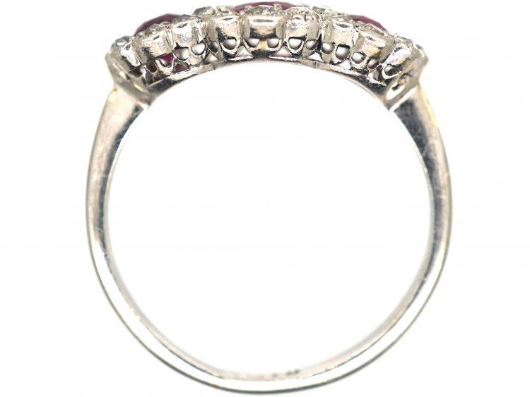 Edwardian 18ct White Gold, Three Stone Ruby & Diamond Triple Cluster Ring