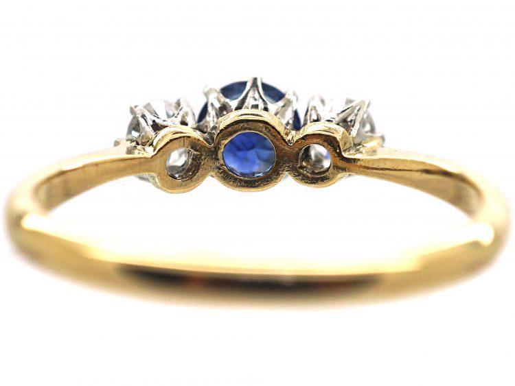 Art Deco 18ct Gold & Platinum, Sapphire & Diamond Three Stone Ring
