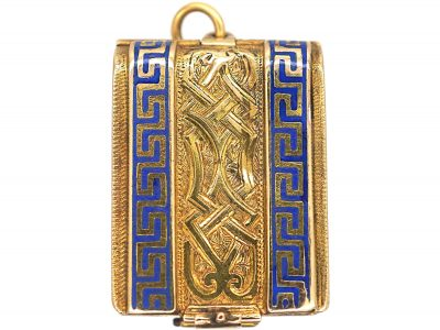 Victorian 18ct Gold & Blue Enamel Rectangular Book Locket with Four Glazed Compartments Inside