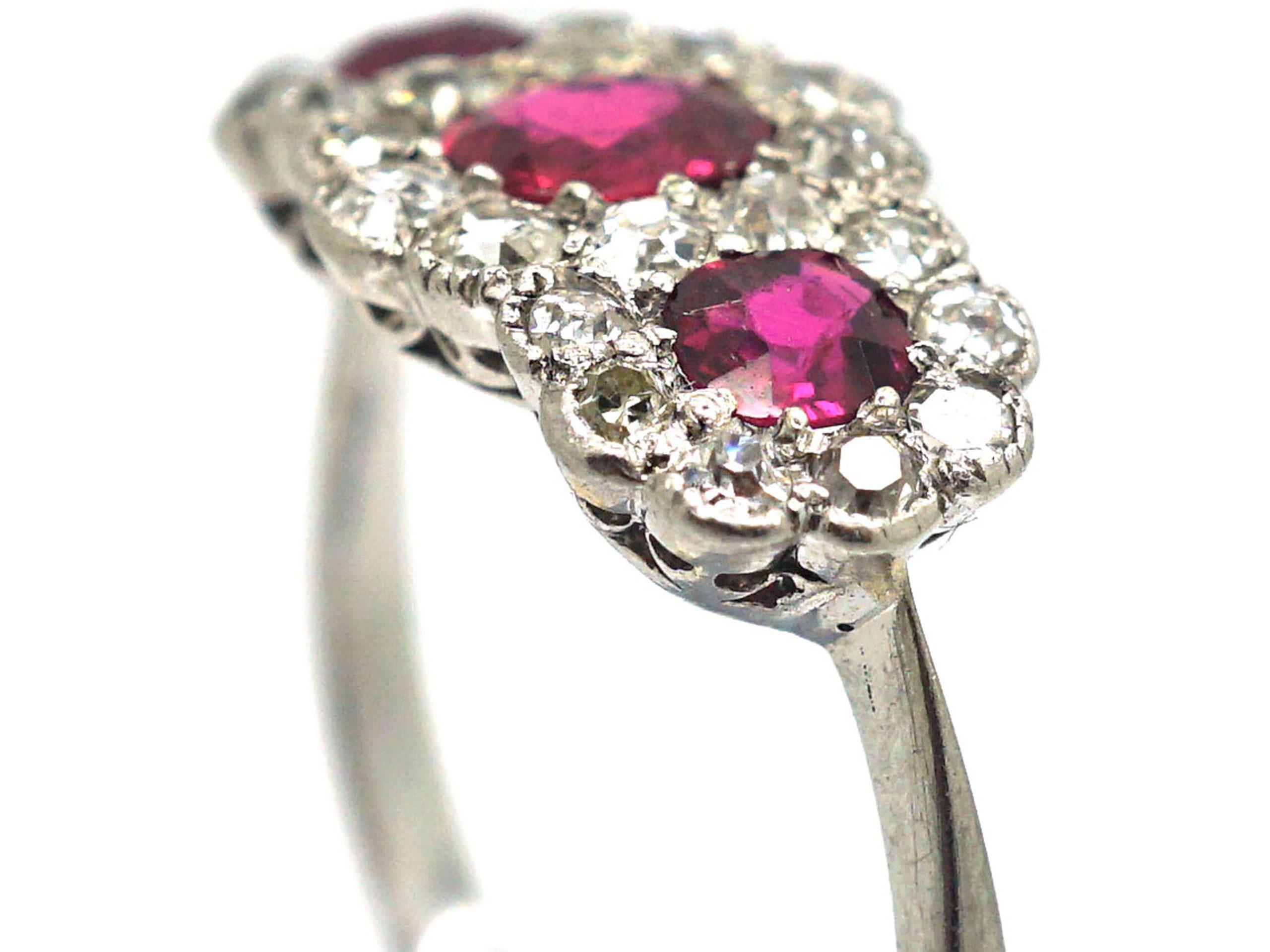 Edwardian 18t White Gold, Three Stone Ruby & Diamond Triple Cluster Ring