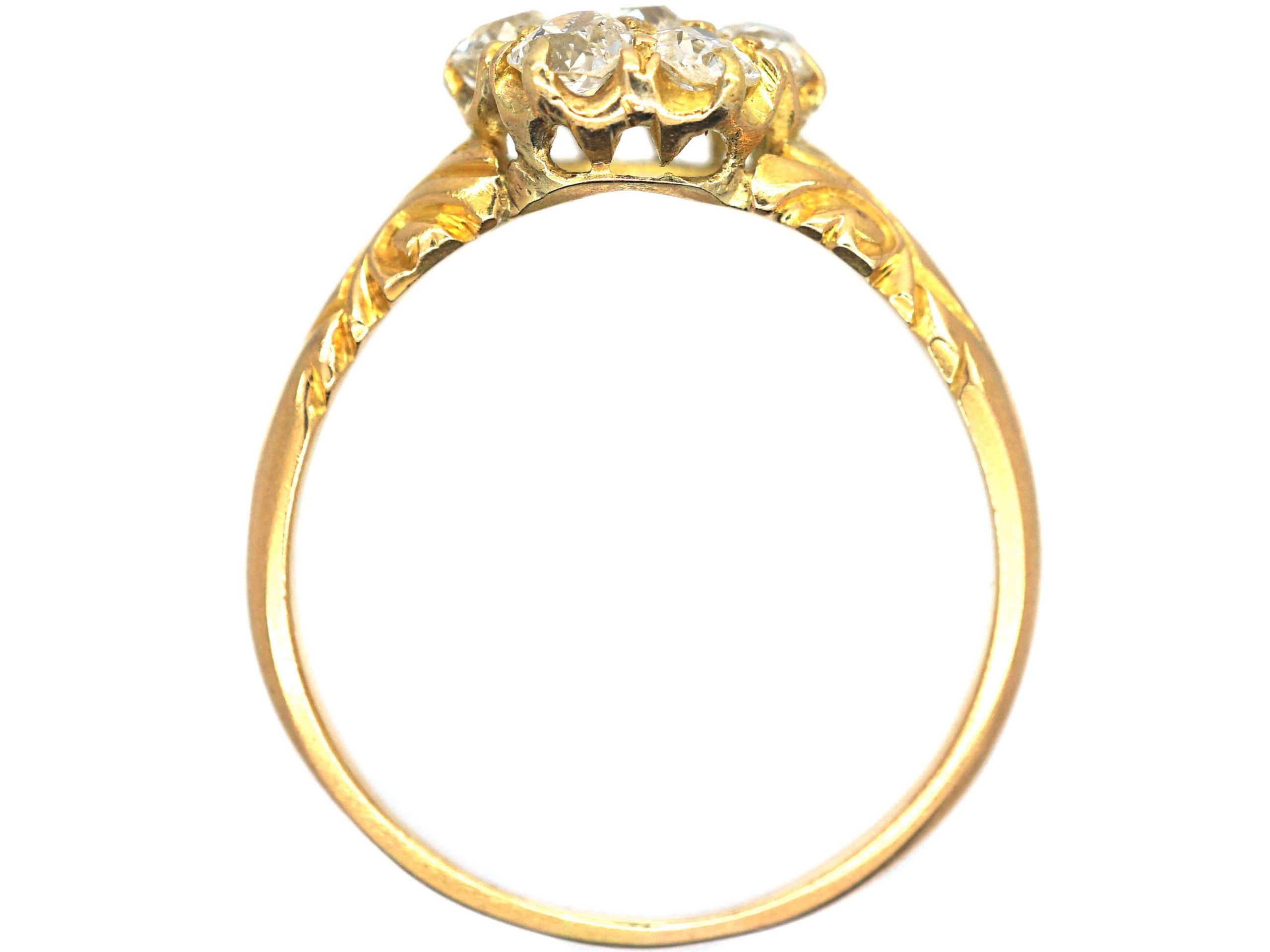 Edwardian 18ct Gold & Diamond Cluster Ring with Ornate Shoulders