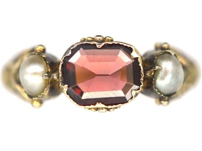 Georgian Scottish 9ct Gold, Flat Cut Garnet & Natural Split Pearl Ring with Thistle Motif Shoulders