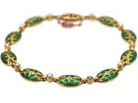 Art Nouveau 15ct Gold & Green Enamel & Natural Pearl Bracelet