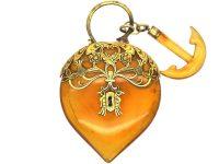 Regency 15ct Gold & Blonde Tortoiseshell Large Padlock with Associated Blonde Tortoiseshell Anchor