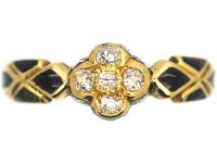Victorian 18ct Gold & Diamond Cluster Ring with Black Enamel Detail