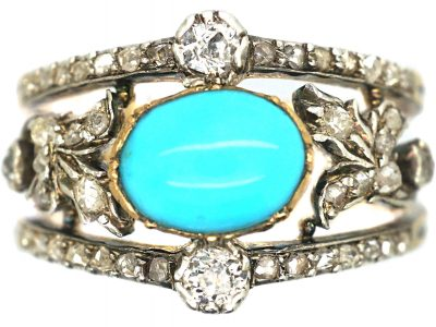 Edwardian 18ct Gold Turquoise & Diamond Ring with Rose Diamond Leaf Detail
